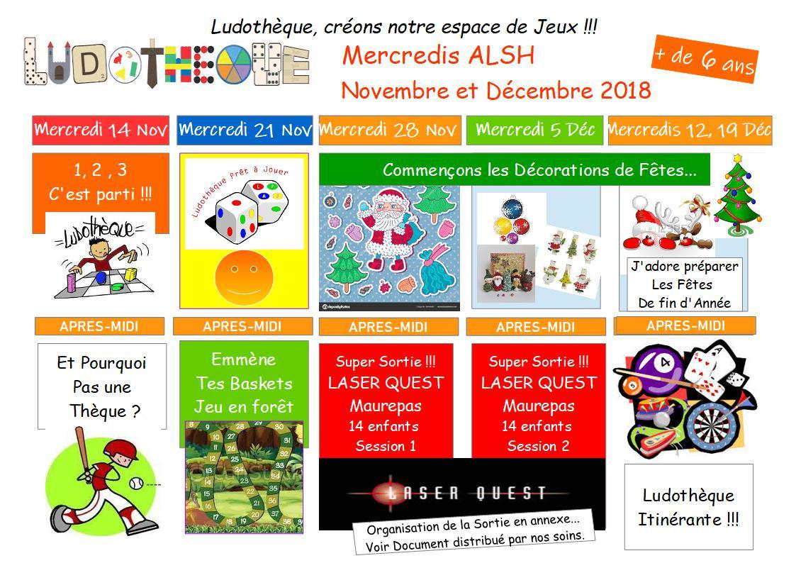 PLANNING ACTIVITÉS des – 6 ANS et + 6 ANS MERCREDIS NOVEMBRE/DÉCEMBRE 2018