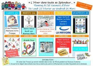 Plannings d'Activités des Vacances d'Hiver 2019