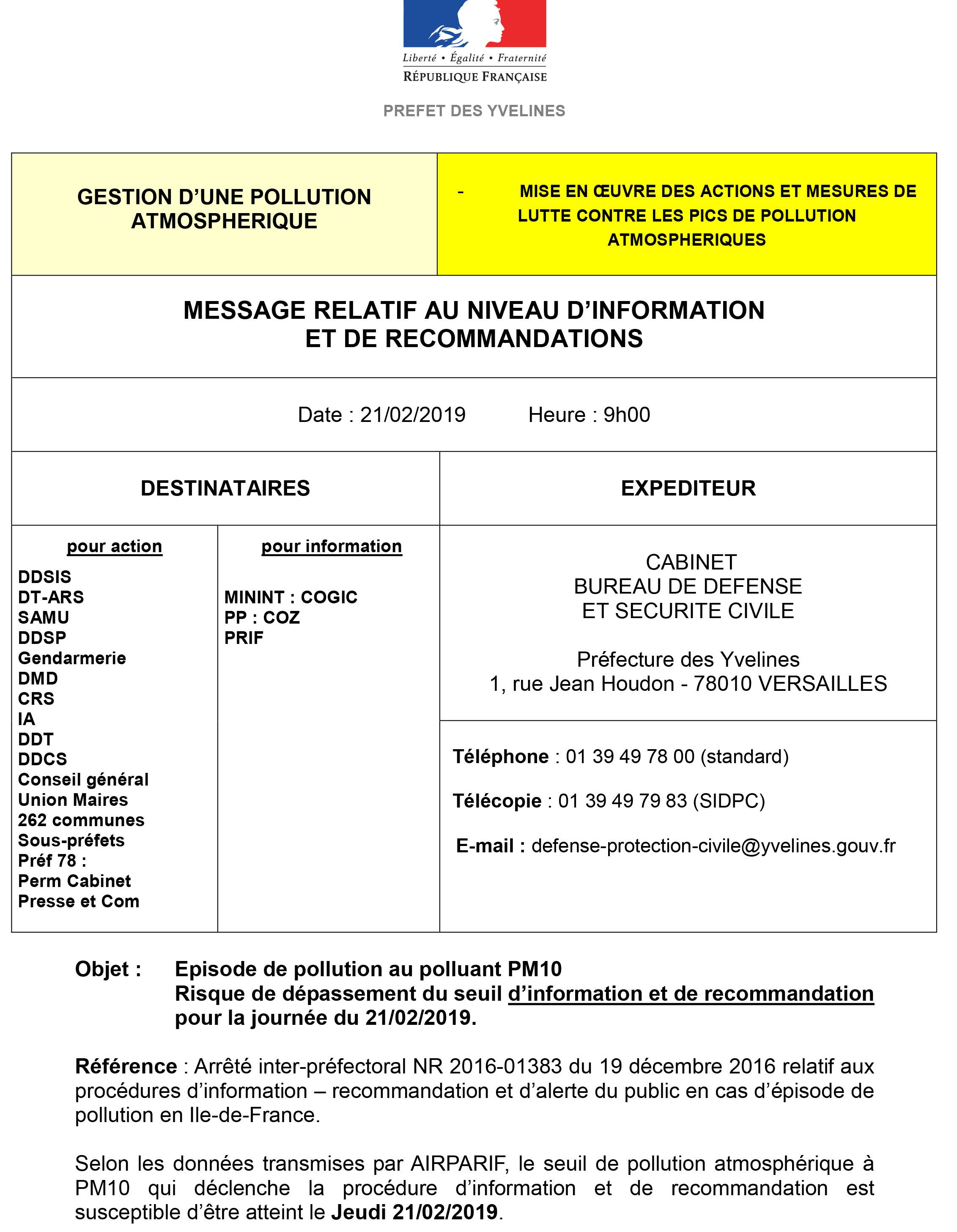 Message d'alerte de la préfecture des Yvelines relatif à la prévision de pollution à l'ozone