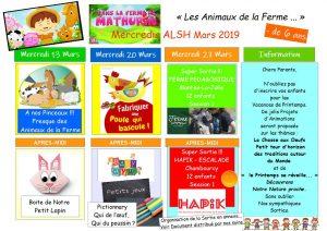 Plannings d'Activités des Mercredis de Mars 2019