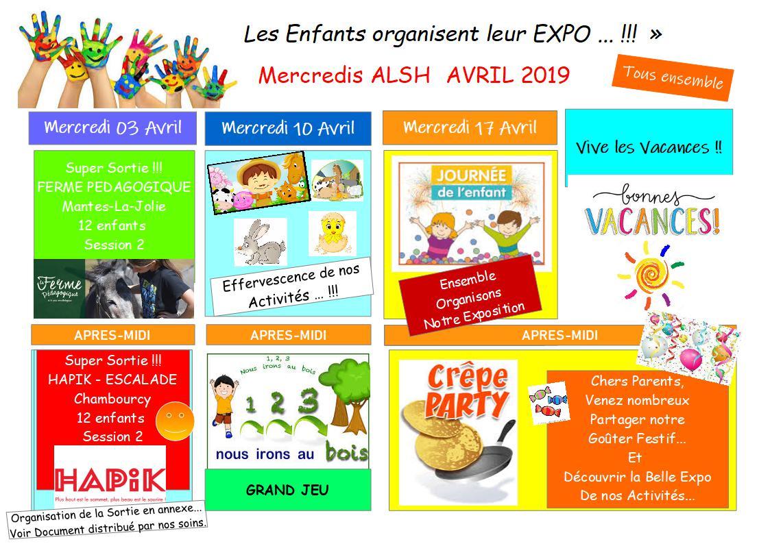 Planning d'Activités des Mercredis d'Avril 2019