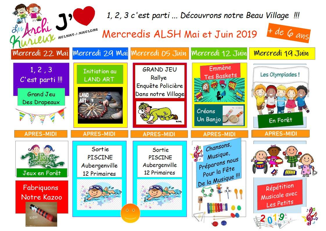 PLANNING DES ACTIVITÉS DES MERCREDIS DE MAI ET JUIN 2019