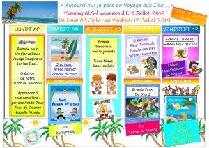 PLANNING DES ACTIVITÉS DES VACANCES JUILLET 2019