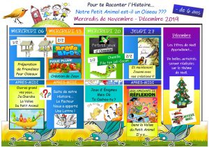 Plannings d'Activités des Mercredis de Novembre et Décembre 2019