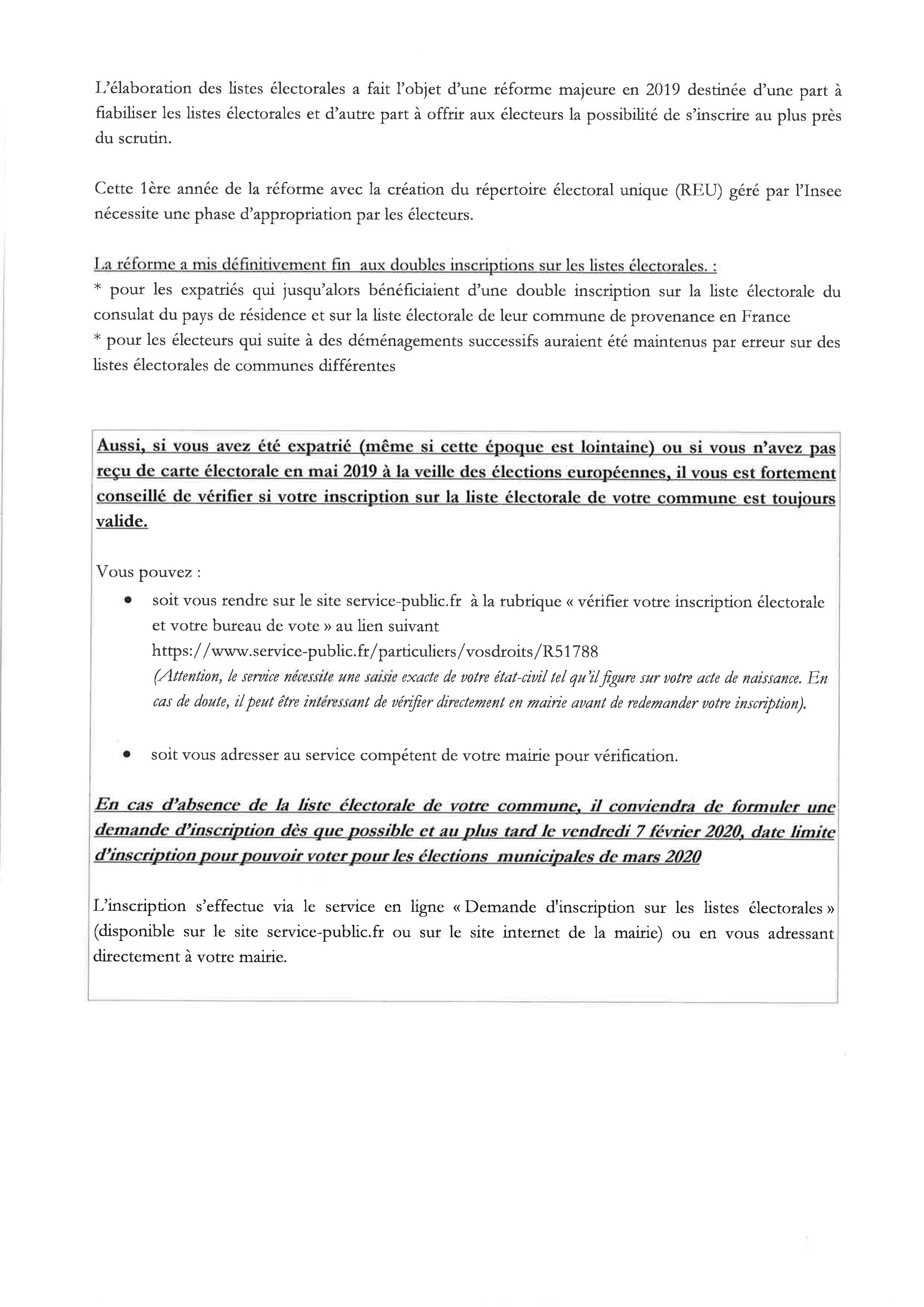Inscription sur les listes électorales – Message de la Préfecture des Yvelines :