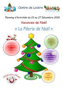 Plannings d'Activités des Vacances de Noël