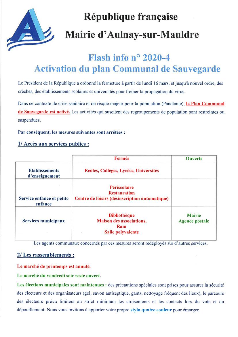 Activation du Plan Communal de Sauvegarde (Risque de Pandémie)
