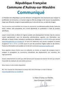 République Française : Commune d'Aulnay-sur-Mauldre : Communiqué